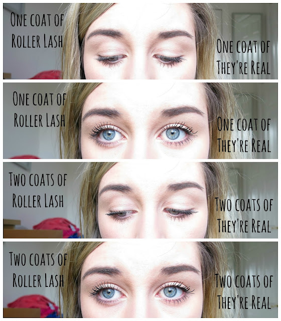 Benefit Mascara Battle: They're Real vs RollerLash  Beauty Makeup Swatches