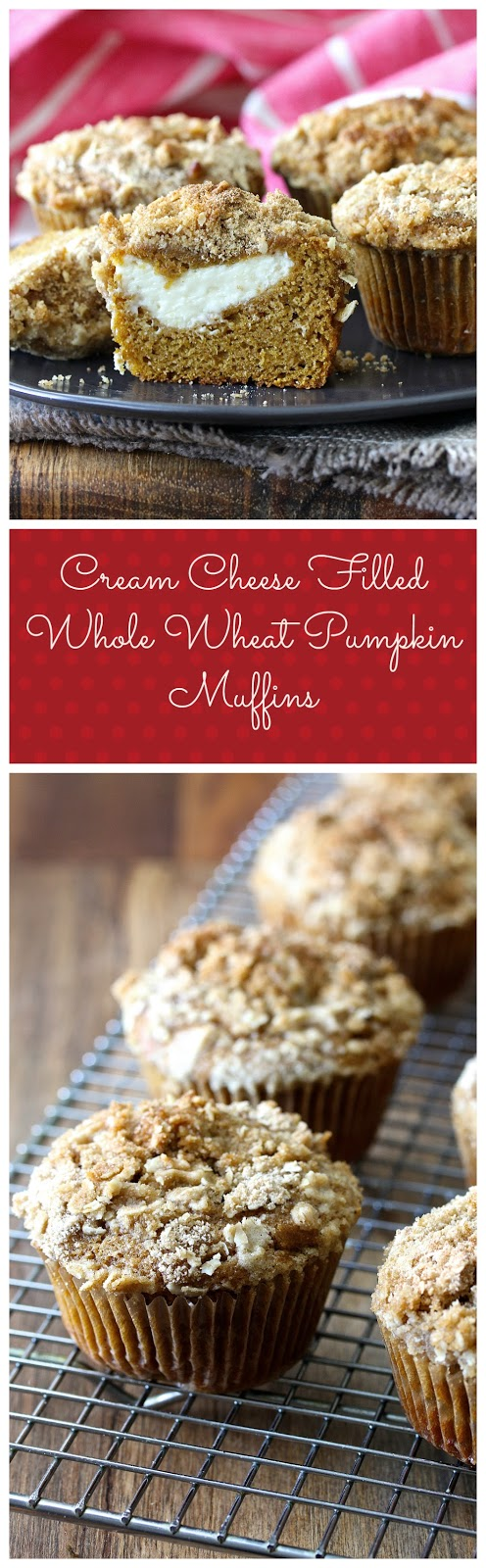 Cream Cheese Filled Whole Wheat Pumpkin Muffins