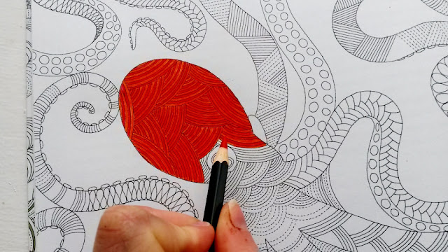 Colouring in octupus with red pencil