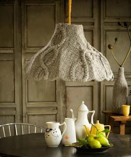 lampadario riciclando un maglione vecchio