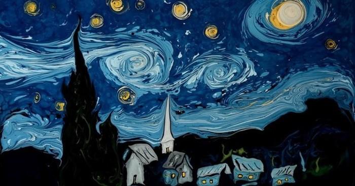 Как нарисовать картину Ван Гога на поверхности воды 3