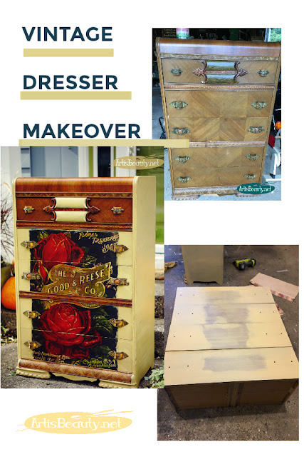 VINTAGE DRESSER MAKEOVER USING PRIMA DESIGNS ADVERTISEMENT COLOR TRANSFER AND SOMERSET GOLD GENERAL FINISHES MILK PAINT KARIN CHUDY DIY