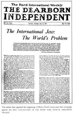 """Антисемитская статья Генри Форда """"Международный жид""""  в собственной газете """"Dearborn Idependent"""""""