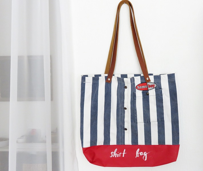 gestreifte Stofftasche - Hemd - Tafelstoff - genaeht - upcycling - DIY-vonKarin