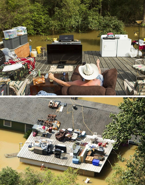 This flood didn't stop him from chilling on his roof