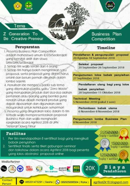 Lomba Nasional Business Plan Agrifest 2018 di Universitas Pembangunan Nasional Jawa Timur