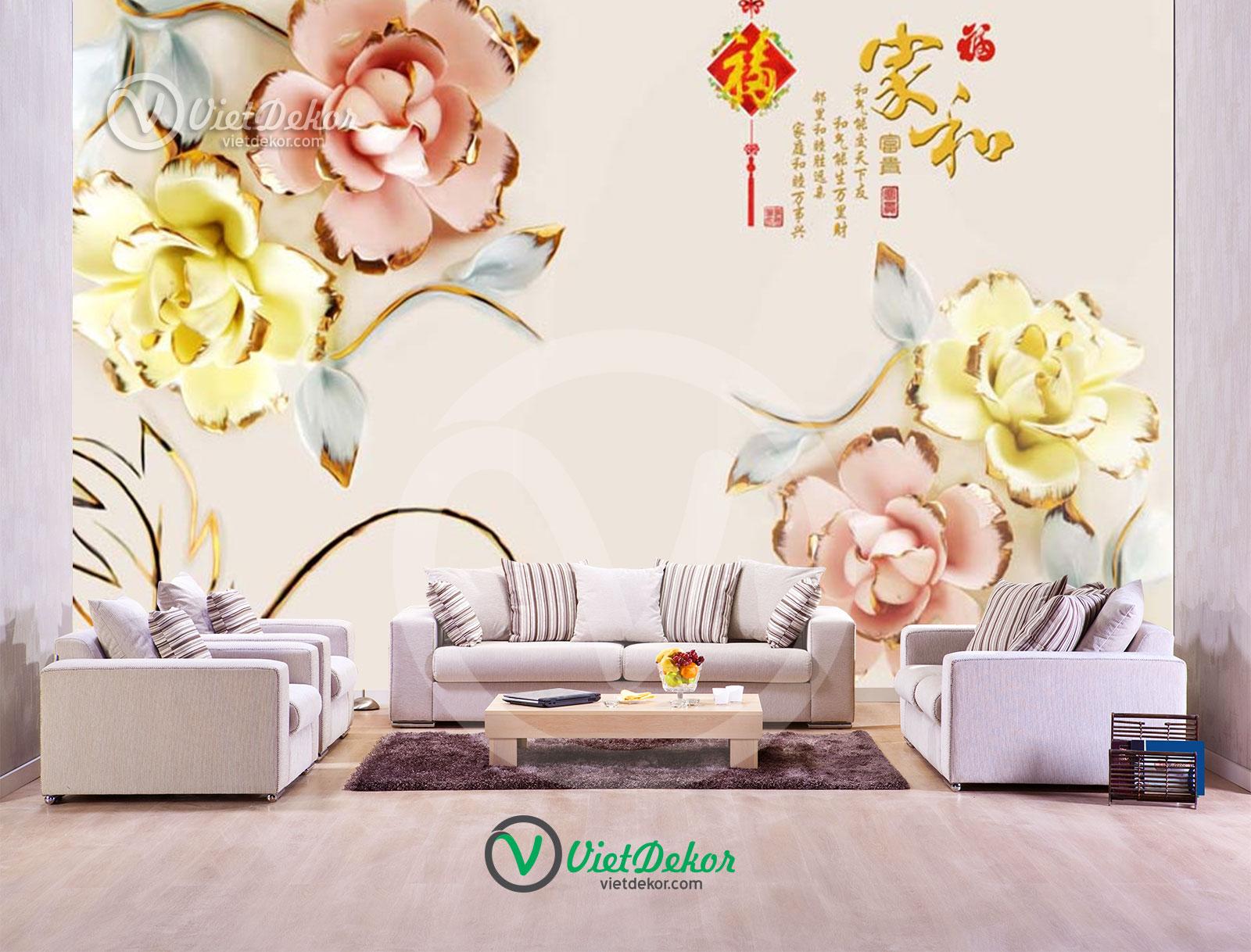 Tranh 3d dán tường hoa hồng trang sức