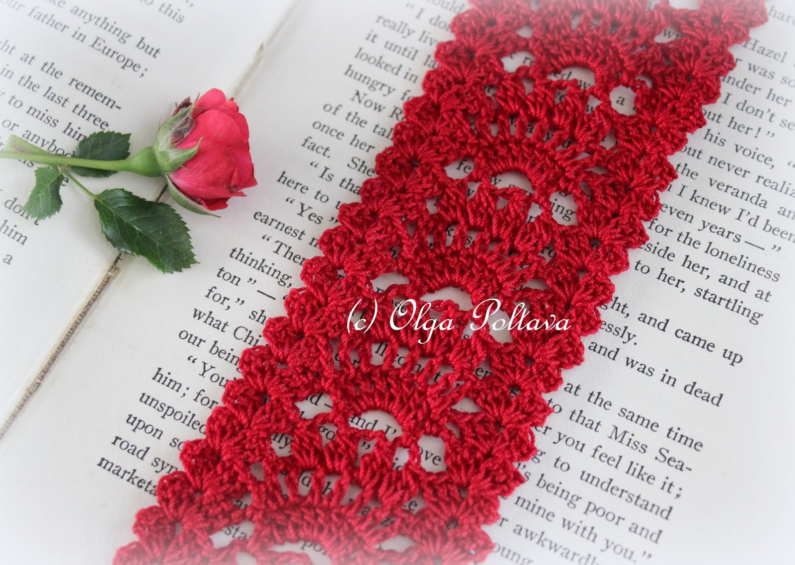 Lacy Crochet: Red Lace Crochet Bookmark