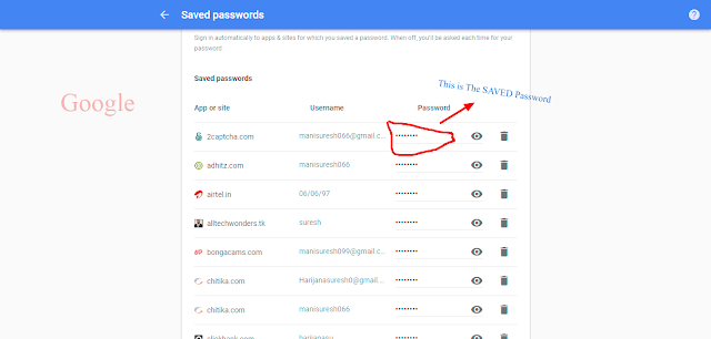 Google store a list of username and passwords