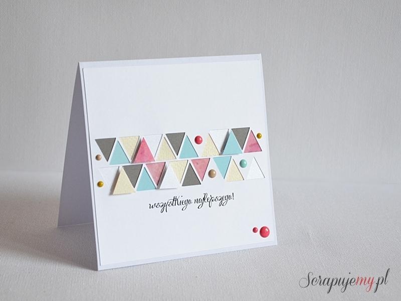 kartka clean&simple, prosta kartka, kartka z trójkątami