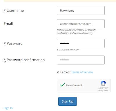 Memasukan Data Pendaftaran Anonymous Ads