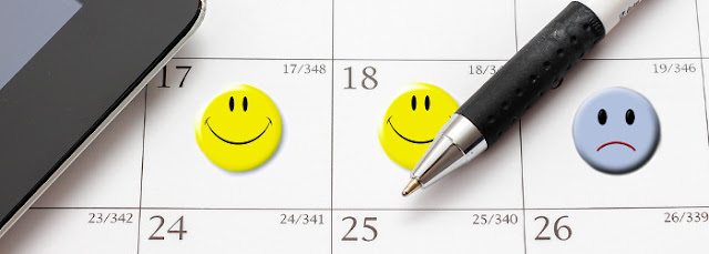calendar with smileys and unsmiley