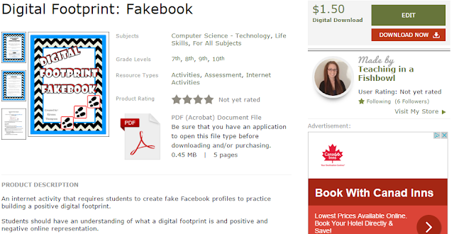 fakebook, digital footprint, digital footprint assignment, digital footprint activities for high school, digital footprint activities for middle school