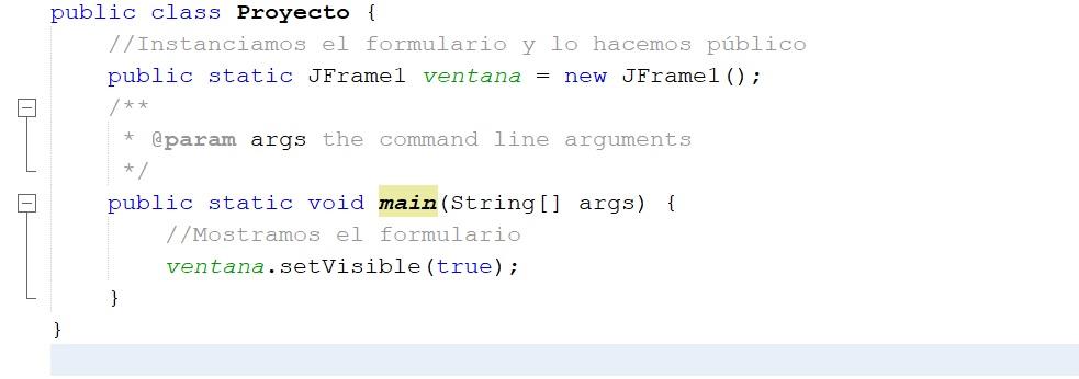 JFrame public static en Java Netbeans