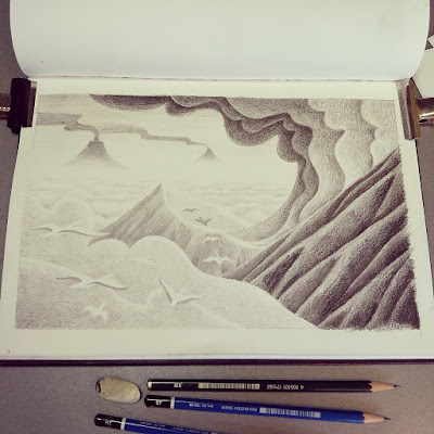 finished pencil illustration of a volcanic landscape