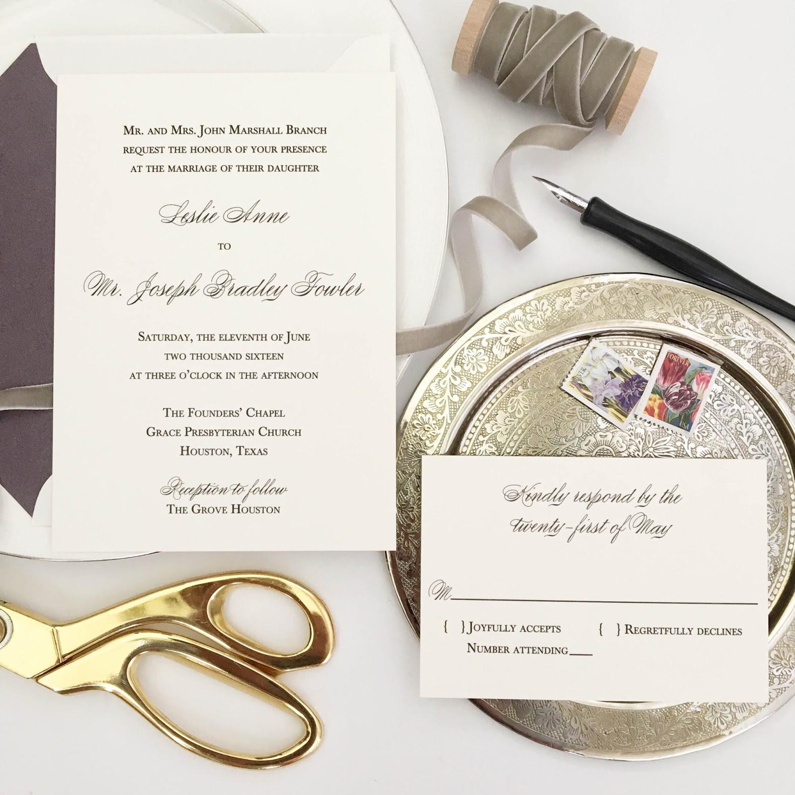 Wedding Invitations Houston: Blush Paperie: Houston Wedding Black Thermography Wedding