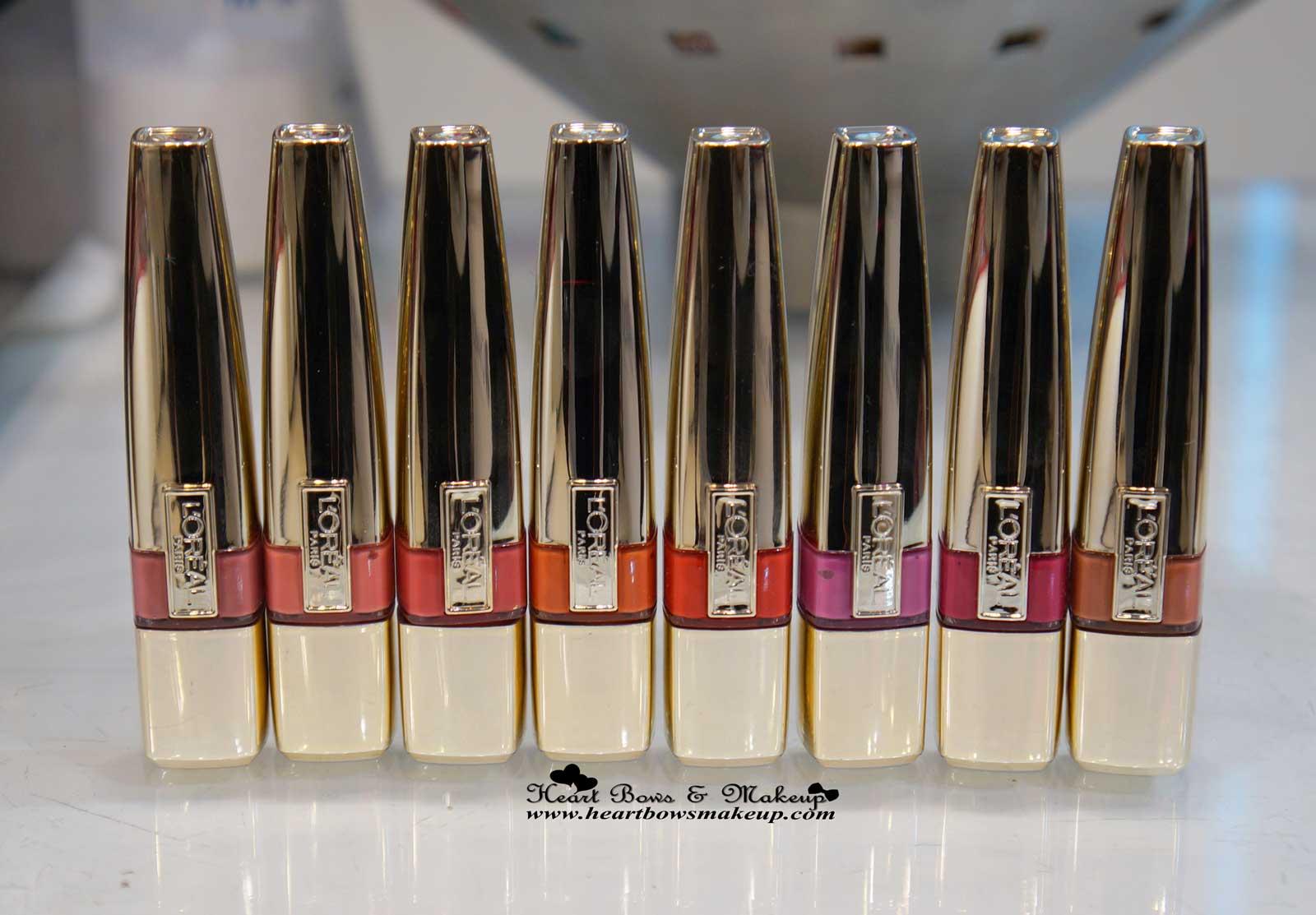 All L'oreal Caresse Shine Lip Colors Swatches Lolita Venus Bella Faye Juliette Milady Eve Pretty Woman