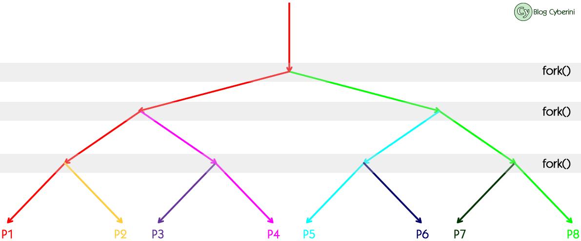 Árvores de processos gerados através do fork