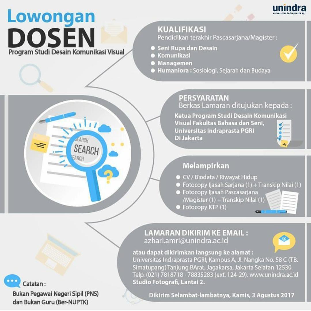 Lowongan Dosen Desain Komunikasi Visual Universitas Indrapasta PGRI (UNINDRA)