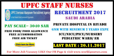 UPFC Saudi Arabia Recruitment for female Staff Nurses November 2017