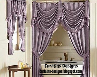 Luxury Shower Curtain Design Purple Bathroom Curtain