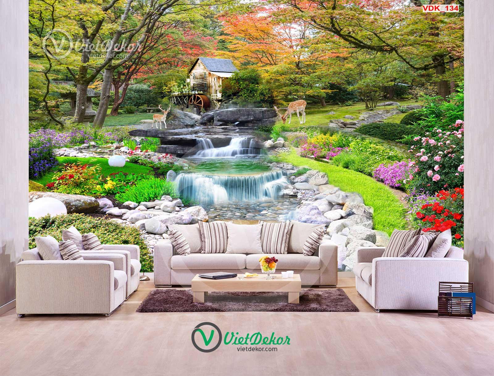 Tranh dán tường 3d  phong cảnh thác nước rừng cây hoa và lai con