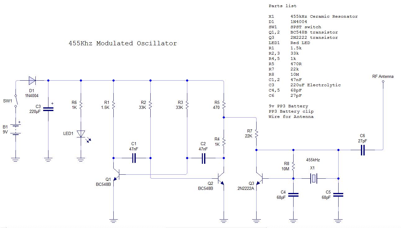 If 455 Transistor Circuit Diagram Modern Design Of Wiring Relay With Electronics 455khz Signal Generator Am Modulation Rh Alfiemalfie Blogspot Com Npn Diodediagram