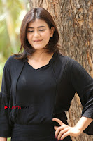 Actress Hebah Patel Stills in Black Mini Dress at Angel Movie Teaser Launch  0089.JPG