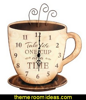 Take Life Coffee Wall Clock  coffee theme decor - coffee themed decorating ideas - coffee themed kitchen decorations - coffee cup theme in the kitchen - coffee kitchen decor - coffee wall decal stickers - coffee cafe decor - coffee wallpaper murals - Barista tools  coffee cafe