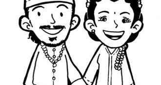 Ammco Bus Gambar Pengantin Muslim Kartun Hitam Putih