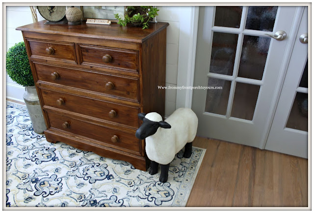 French Country-French Farmhouse-Sheep Statue-Foyer Decor-Vintage Dresser--Foyer-From My Front Porch To Yours
