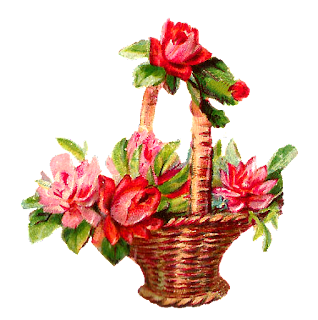 printable red rose basket graphics