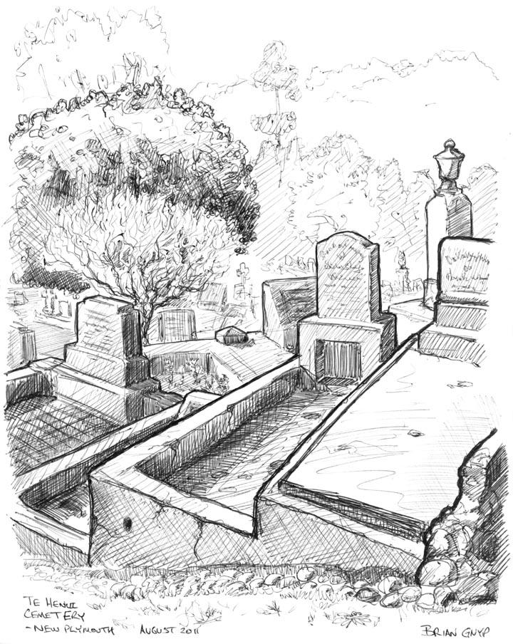 Sketchy Drawings: Headstones in the cemetery