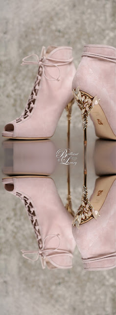 Ralph & Russo  Eden open toe ankle boot in baby pink with enamelled rose gold leaves #brilliantluxury