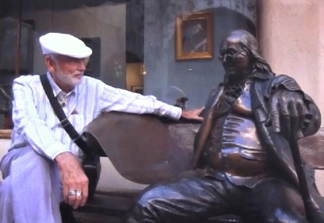 Robert Earl Burton Fellowship of Friends/Apollo cult leader with Benjamin Franklin bronze
