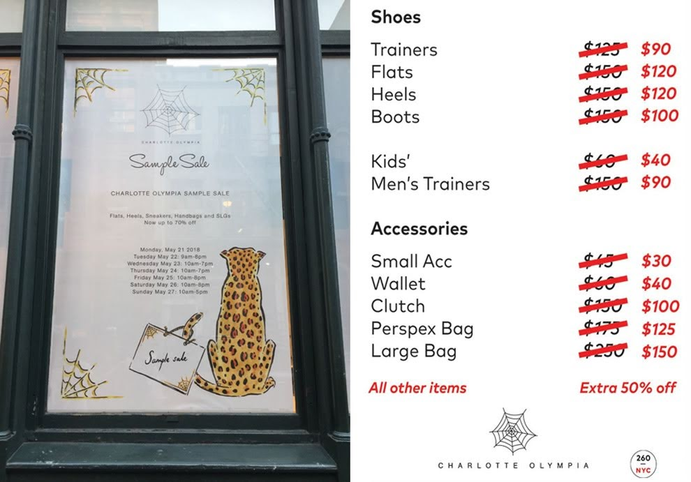 Charlotte Olympia sample sale prices