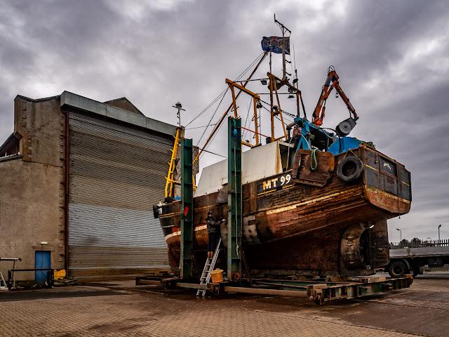 Photo of work underway on Silver Fern's hull