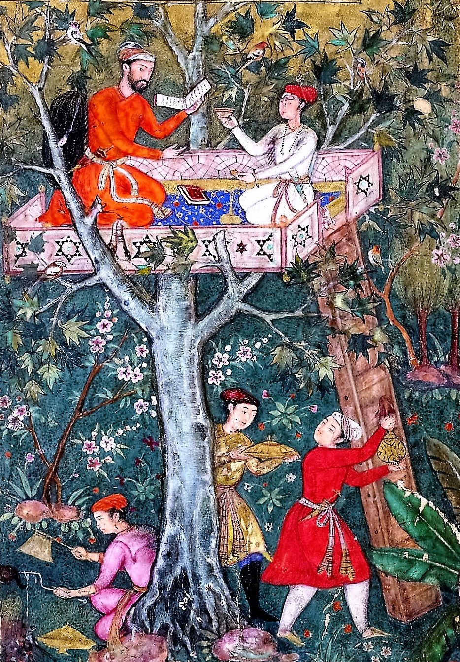 Anvarī, Great 12C Persian Poet, In A Treetop Garden Pavilion (Mughal Ms.  16C) Anvari Entertains In A Summer House (painting, Verso; Text, Recto),  Folio 109 ...