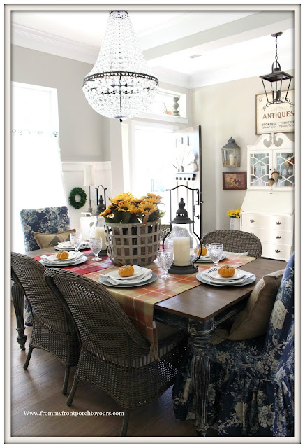 French Farmhouse Style Fall Dining Room-Wicker Dining Chairs-Basket of Sunflowers-From My Front Porch To Yours