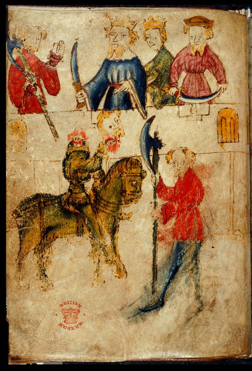 james russell sir gawain the green knight in pictures green knight continues speaking despite losing head illustration from original manuscript c14