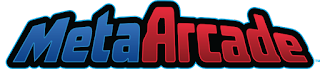 The MetaArcade Logo: The word MetaArcade in stylized letters, the first four in blue and the rest in red.