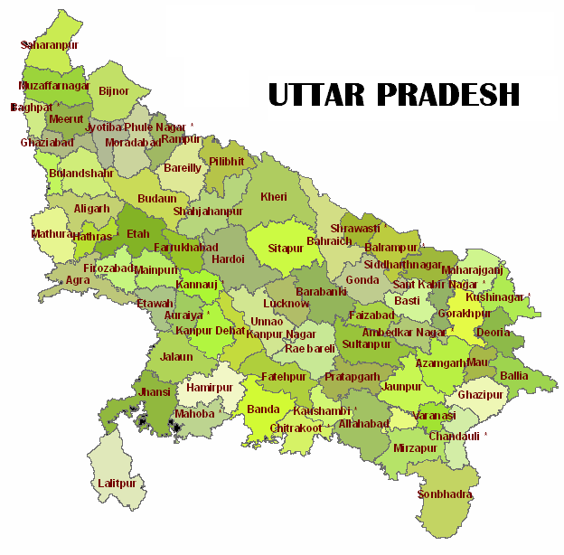 Muslim Population in Districts Of Uttar Pradesh ~ Muslim