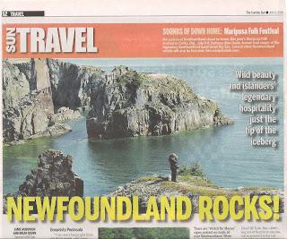 Newfoundland Rocks! in Toronto Sun newspaper. Photograph by Janie Robinson, Travel Writer