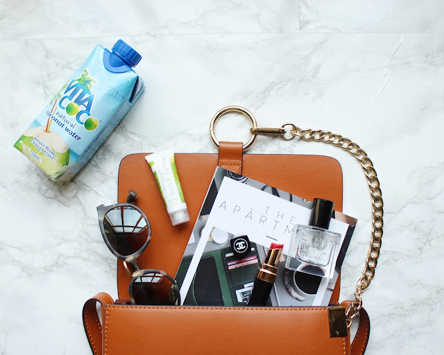 lfw bag essentials, bag essentials, what's inside my bag, chloe bag, taylor morris sunglasses, coco chanel liptstick, chanel lipstick, miller harris perfume, malee hand cream, coconut water