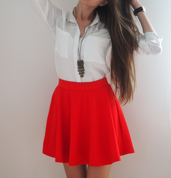 Red skirt and white shirt fashion, stylization