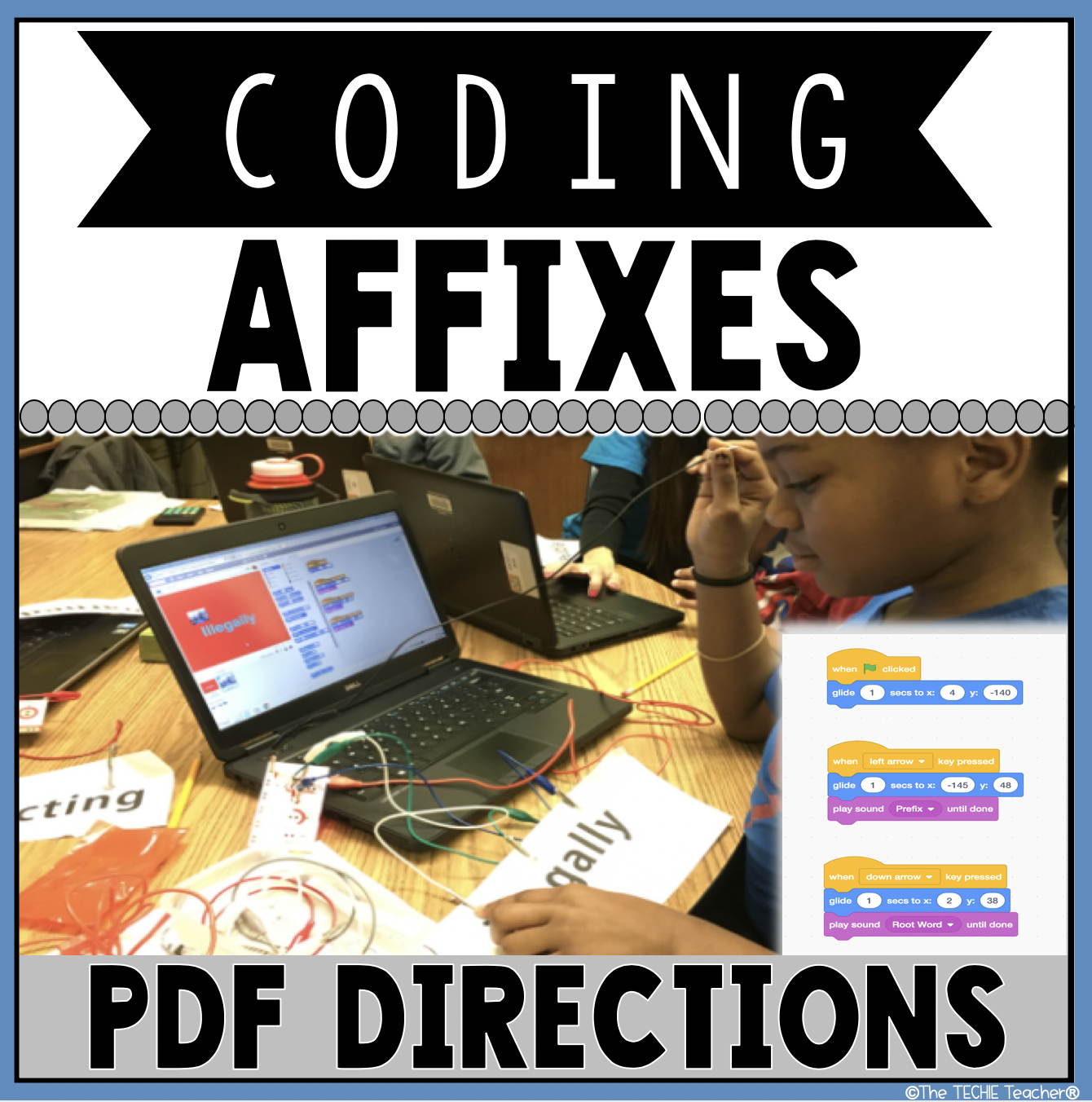 Students will have a blast coding affixes in Scratch 3.0. They will investigate prefixes, root words and suffixes with this digital activity. To take it a step further you can use a MaKey-MaKey invention kit.
