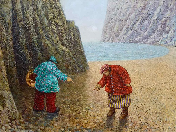 """Pebble Pointing Practice"" by Simon Garden - oil on panel, 2017 