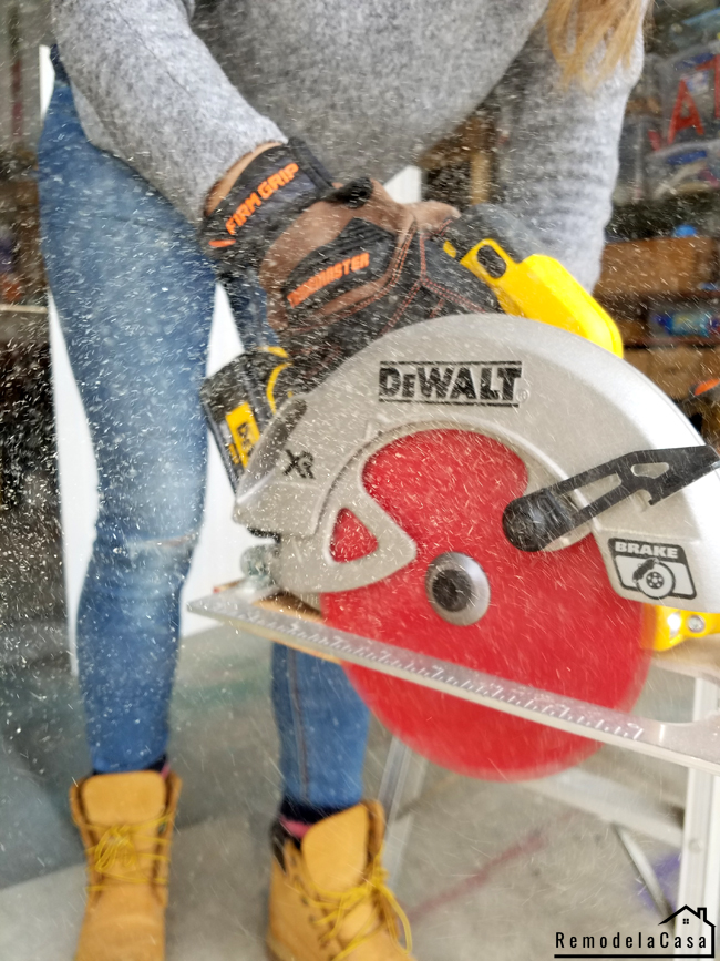 Cristina Garay using DeWalt circular saw and diablo blades