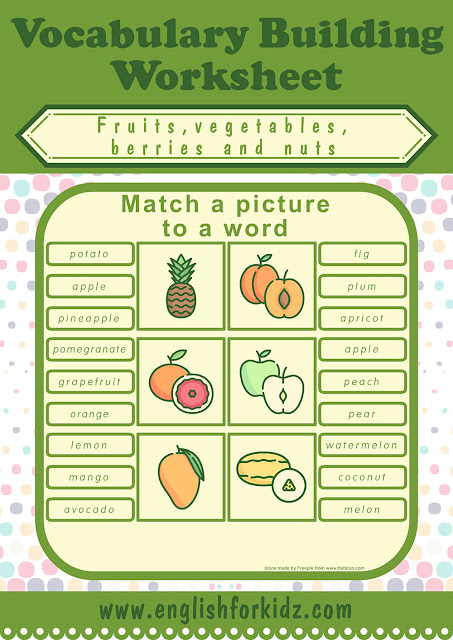 Printable fruits worksheet with pictures to learn English