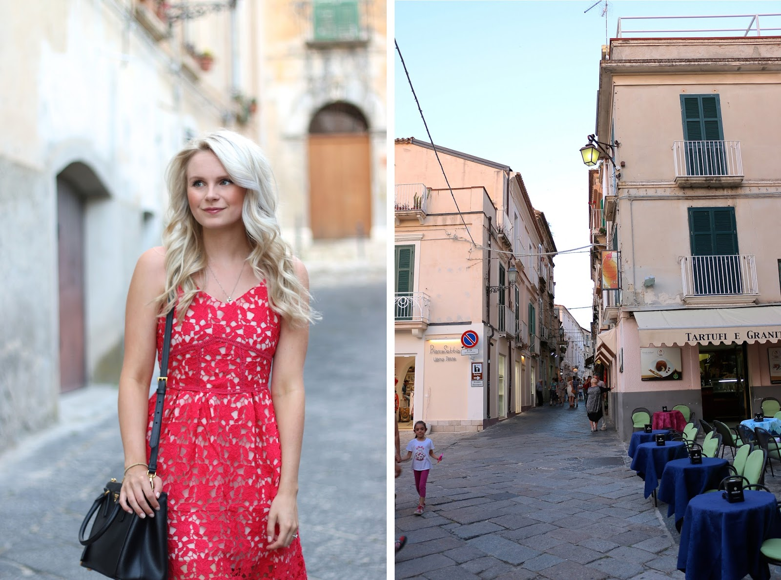 a women walks through Italy in lace red midi dress at sunset with Prada purse